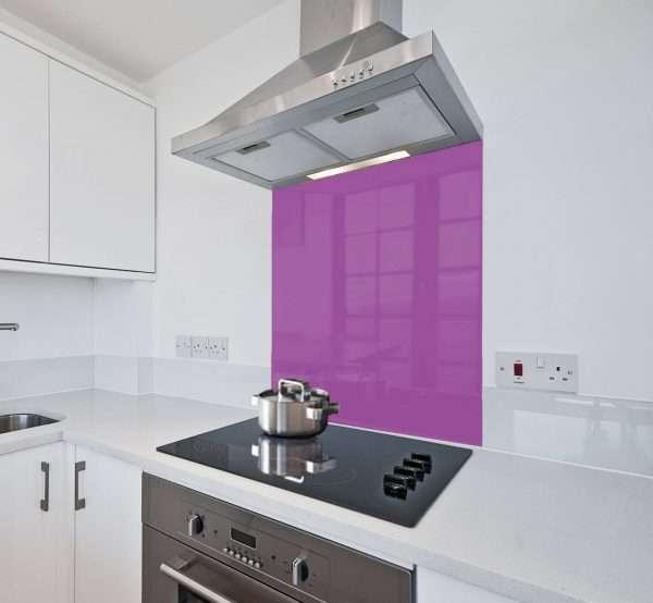 purple glass splashback